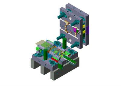 Dimensioni: 330 x 360 H=320<br /> Tipo stampo: a passo progressivo (n° passi: 8)<br /> Tipo lamiera: DC02 ZN - Spessore 12/10<br />