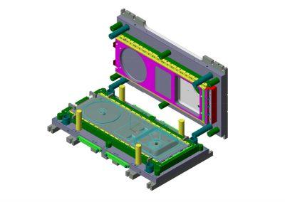 Dimensioni: 2000 x 1170 H=510<br /> Tipo stampo: piegatura a blocco<br /> Tipo lamiera: AISI 304 - Spessore 10/10<br />