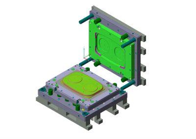 Dimensioni: 1020 x 810 H=500<br /> Tipo stampo: Imbutitura a blocco<br /> Tipo lamiera: DC04 Solfer - Spessore 7/10<br />