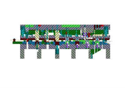 Dimensioni: 1400 x 630 H=600<br /> Tipo stampo: a passo progressivo (n° passi: 9)<br /> Tipo lamiera: DC04 UNI EN 10130 - Spessore 20/10<br />